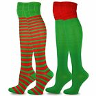 TeeHee Christmas Holiday Fun Over the Knee High Socks for Women 2-Pack Stripes