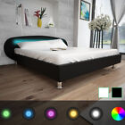 4FT6 Double/5FT King Size Black/White LED Artificial Leather Bed Frame Bedroom