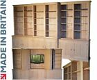 Large Pine TV Unit, Stand Handcrafted 12ft Wide Break Front Library TV Hideaway