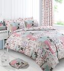 Boutique Pink Vintage Patchwork Printed Duvet Cover Set Reversible Bedding Set
