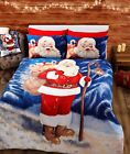 Santa Christmas Single Double King Reversible Duvet Quilt Cover Bedding Set Xmas