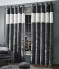 Luxury Diamante Crushed Velvet Curtain Pair Fully Lined Ring Top Charcoal