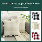 Pack Of 2 Pom Edge Buffalo Plaid Cotton Lineen Cushion Covers Decorative Pillows