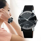 Classic Women Man Leather Band Quartz Wrist Watch Analog Stainless Steel Watch