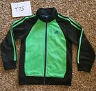 New Adidas Boys Size 7 Athletic Full Zip 3 Stripes Lime Green Black Jacke Coat