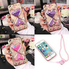 Handmade Cute Bling Glitter Crystal Flowers Diamond Phone Case Cover with Strap