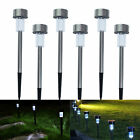 Solar Power LED Garden Yard Lawn Path Fence Light Party Lamp Stainless Steel