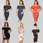 Ladies womens party dress off the shoulder bardot midi bodycon formal size