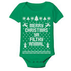 Baby Merry Christmas Ya Filthy Animal Xmas  Cute Outfit Green Baby One Piece