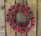 Red pine cones and red sweet gum balls wreath handcrafted- Holiday Decor