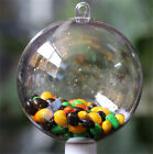 10 Plastic Balls Transparent Tree Ornament Decor Clear Can Open Box Christmas