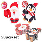 50x Santa Claus Penguin Lollipop Christmas Card lolly sugar-loaf Xmas Party Gift