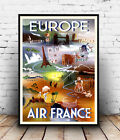 Europe By Air : Reproduction Aviation advert, poster, Wall art.