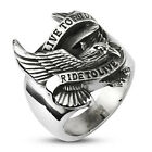 "Silver Stainless Biker Eagle 'Live to Ride Ride to Live' Ring"" Retail $39.95"
