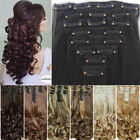 Real Long 8Pcs Clip in Full Head Hair Extensions human made hair Extension HG61