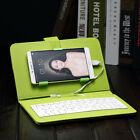 """Flip Leather Micro USB Keyboard Holster OTG Case Cover Stand For Phone 4.2""""-6.8"""""""