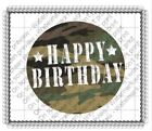 Happy Birthday Camo Camoflage image cake topper frosting sheet #441