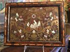 Antique19th C English Framed Boulle Inlay on Wood Picture Mother of Pearl Brass