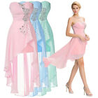 Embellished Sequins Chiffon Strapless Evening Cocktail Party High Low Mini Dress