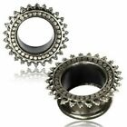 1 x SILVER PLATED BRASS MANDALA FLARED EAR FLESH TUNNEL TRIBAL JEWELLERY