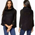 New Ladies Black Poncho Asymmetric Ribbed Hem Cowl Neck Soft Warm Jumpers