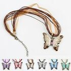 """BUTTERFLY 2"""" x 1-5/8"""" Charm Pendant Necklace 16-18"""" Rope Chain"""