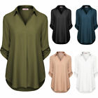 Women's V Neck Tops 3/4 Roll-Up Sleeve Loose Casual T Shirt Blouse Pullover Tee