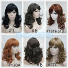 Women's Black Brown Mix Side Bang Layered Long Wavy Curly Hair Wigs for Women