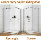 Shower Enclosure Corner Entry Cubicle Glass Sliding Screen Door Stone Tray+Waste