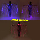 US Rechargeable LED isis Wings Light Up Belly Dance Club Costumes Sticks Bag