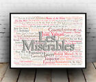 Les Miserables Musical Poster, Quotes, Lyrics, Wall Art, Poster, All Sizes