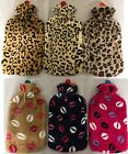 NEW SOFT WARM LARGE HOT WATER BOTTLES WITH REMOVABLE LEOPARD/LIPS FLEECE COVERS