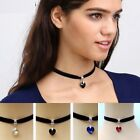 Ladies Black Chocker Choker Trendy Heart Collar Necklace Fashion Jewellery Girls