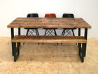 Distressed wide plank industrial dining table rustic brown - u frame