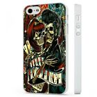Candy Skull Rock N Roll Art WHITE PHONE CASE COVER fits iPHONE
