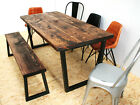 Distressed wide plank industrial dining table dark brown - u frame