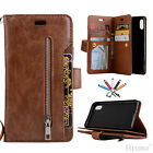 For iPhone X 7 8 Plus Flip Magnetic Leather Wallet Zipper Stand Phone Case Cover