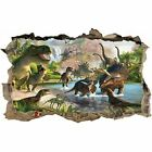Dinosaurs World 3D Hole in The Wall Effect Wall Sticker Art Decal Mural