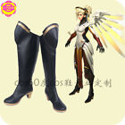 Game Mercy Angela Ziegler Cosplay Boots Fighting Shoe Black Women Wellingtons