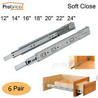 Probrico 6 Pairs 12/14/16/18/20/22inch Soft Close Full Extension Drawer Slides