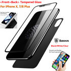 Full Coverage Curved Front + Back Tempered Glass Protector fr i Phone X 7/8 Plus
