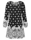 Women's Crew Neck Ethnic Printed Pleated Loose Tunic Mini Dress Button Pullover