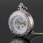 Stainless Steel Steampunk Antique Pocket Watch Quartz Necklace Chain Gift UK