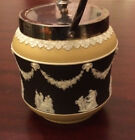 Wedgwood Jasperware Tricolor Yellow Black Biscuit Barrel Damage to Relief EPNS