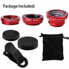 Wide Angle+Fish Eye+Macro Camera Photo Lens 3 in 1 Kit For Smart Phone Universal