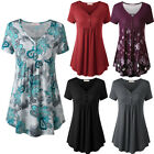 Women's Vintage Short Sleeve V Neck Button-up Pleated Henley Tunic Flare Shirt