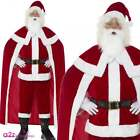 Deluxe Santa Claus Mens Father Christmas Xmas Adult Fancy Dress Costume Cape New