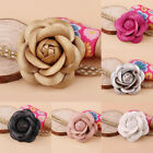 1Pc Charm Handmade PU Leather Classic Camellia Flower Pin Brooch