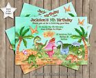 DINOSAUR WATER COLOUR PERSONALISED BIRTHDAY PARTY INVITATION x 1