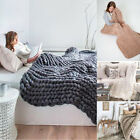 Large Luxury Hand Chunky Knitted Mink Warm Throw Over Bed Soft Blanket Bedspread image